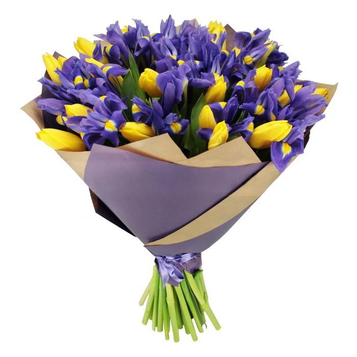 Букет тюльпанов с ирисами фото